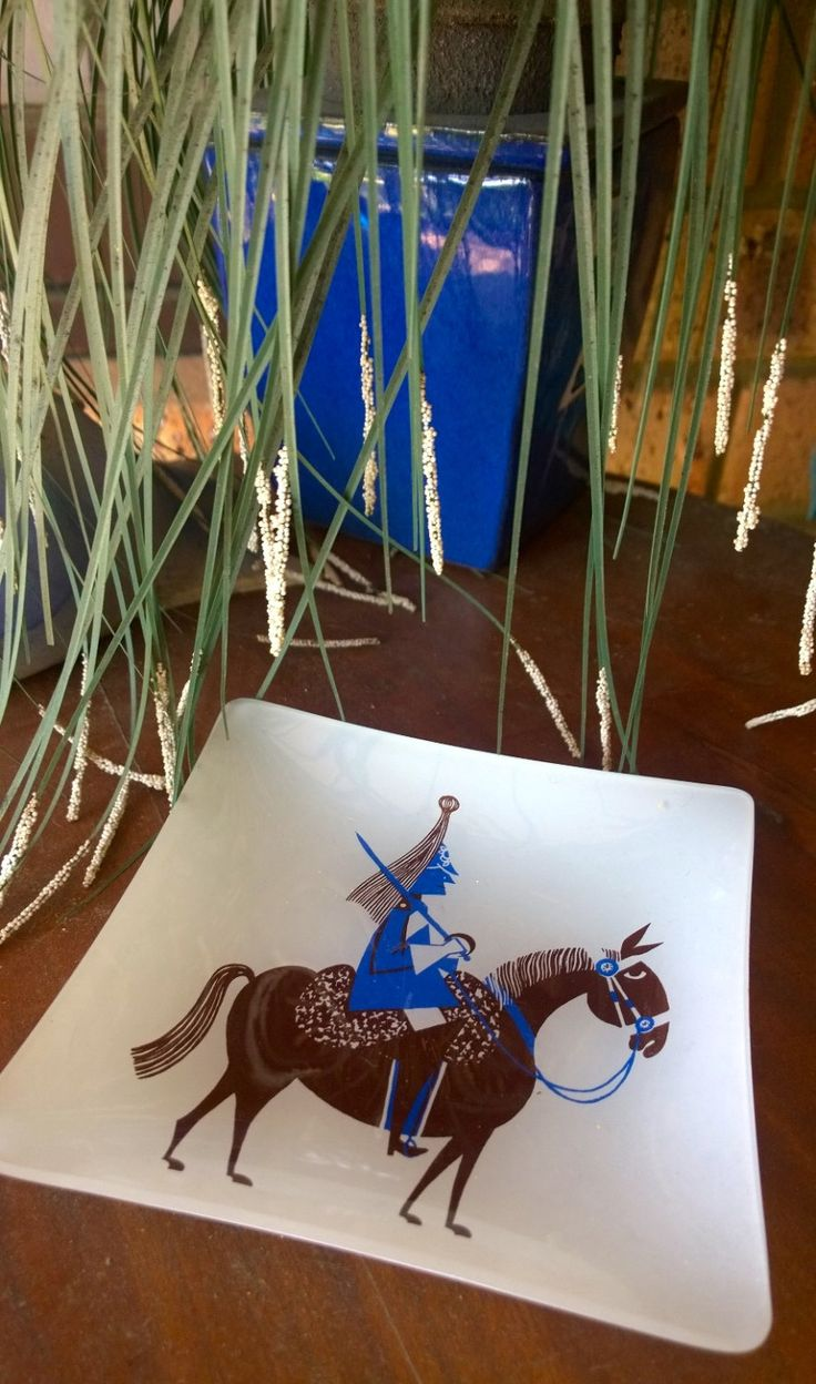 Square Glass Plate - Soldier on Horseback - Ashtray, Platter : Vintage Item - Blue, Brown by TheBusyTipsyGipsy on Etsy