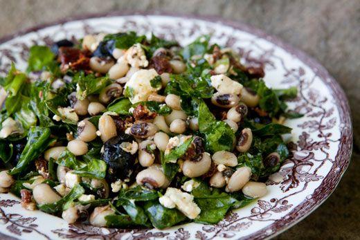 Black-Eyed Pea Salad ~ Black-eyed pea salad with a Greek twist, fresh spinach, Kalamata olives, sun-dried tomatoes, feta cheese, green onions, garlic, and lemon. ~ SimplyRecipes.com