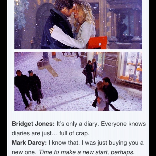 Bridget (Renee Zellwegger) and Mark(Colin Firth) in Bridget Jones's Diary.