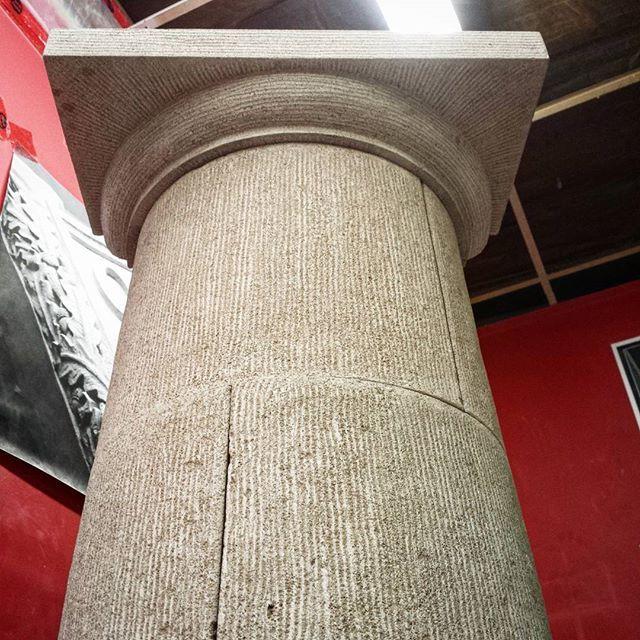Underside shot of this hand carved limestone column!! Follow us on Facebook! www.roccomasons.com  #architecture #rockwork #interiordesign #handcarved #stonemason #stonemasonry #masonry #stonecarving #stonecarver #brickwork #bricklayer #saskatoon #roccomasons #stonework #saskatoonstone #stone #brickwork #yxe #indianalimestone