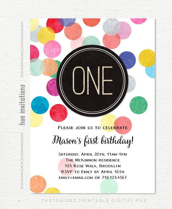 1st Birthday Invitation Rainbow Confetti And By Hueinvitations