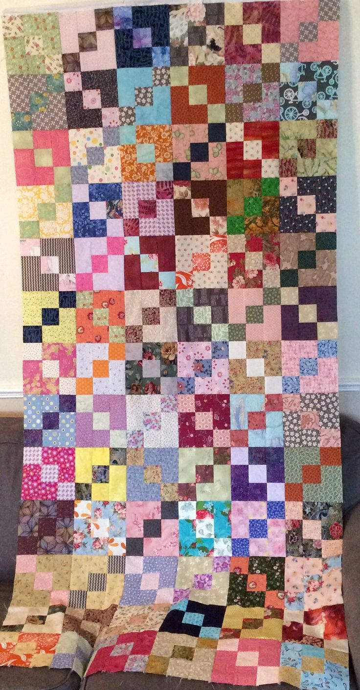 """Half way through my Carolina Chain scrap quilt"" - pattern by Bonnie Hunter"