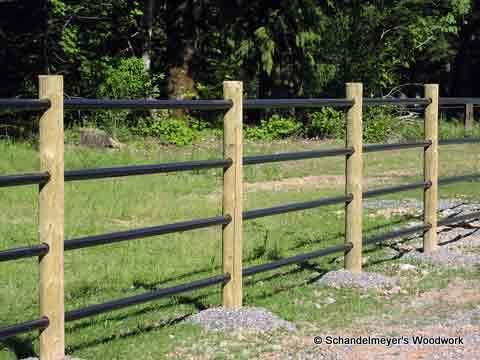 Wood post and metal rail fencing