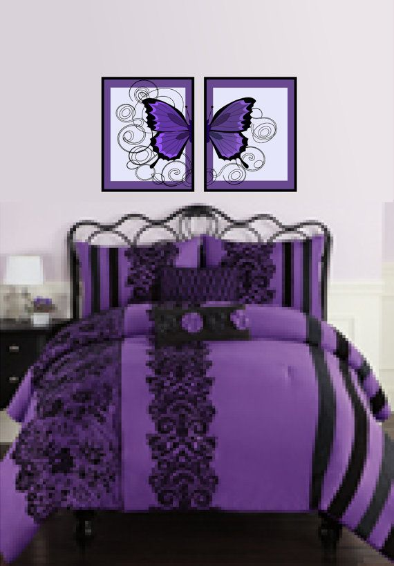 Etsy Purple And Black Giant Butterfly Prints By
