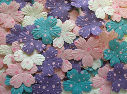 100 Mulberry paper POLKA DOT FLOWERS - PINK PURPLE BLUE