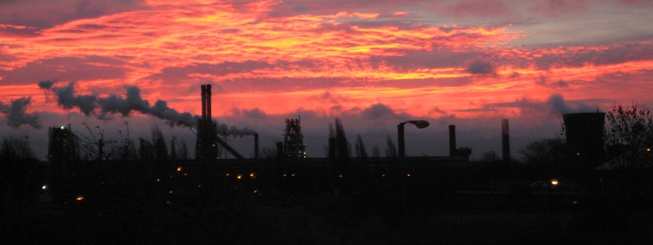scunthorpe steelworks at sunset