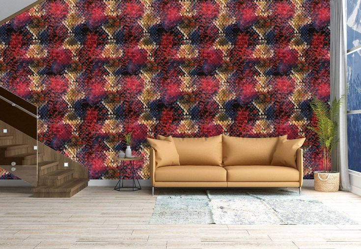 Removable Peel And Stick Wallpaper Red Blue Gold Snake Skin Etsy Peel And Stick Wallpaper Vinyl Wallpaper Wallpaper