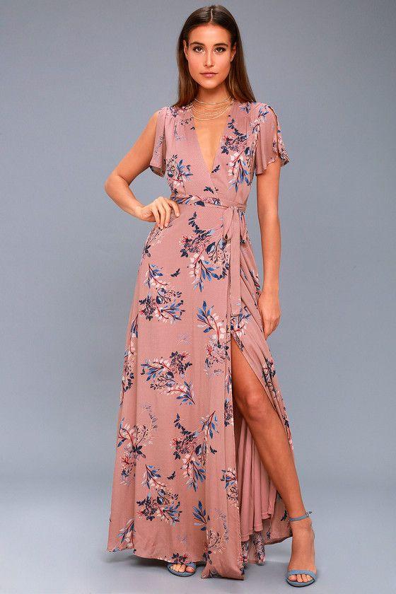 70955767fd3 Fiorire Rusty Rose Floral Print Wrap Maxi Dress 2