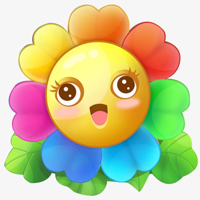 Cartoon Rainbow Flower Free Stock Png Png Picture Material Rainbow Flower Png And Psd Cartoon Flowers Rainbow Flowers Rainbow Png