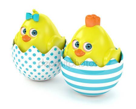 3d render of Easter chicks in egg shells — Stock Photo © ayo888 #146305211