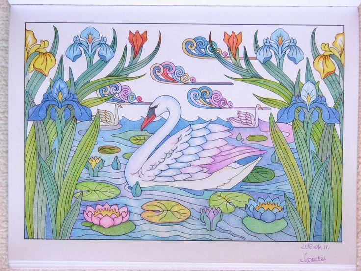 Svan lake artist: Marty Noble book: Art nouveau, animals designs pencils: Aldi Leon and Lyra Groove Slim