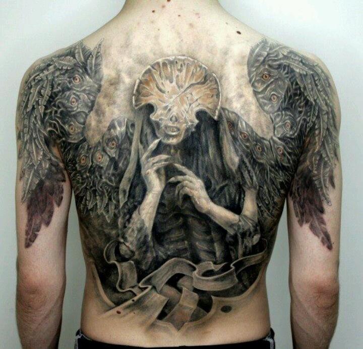 Creepy angel of death tattoo tattoos pinterest for Badass angel tattoos
