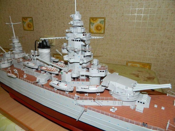 068 106cm Dunkerque WWII France Dunkirk Battle Cruiser Paper Model Pdf File