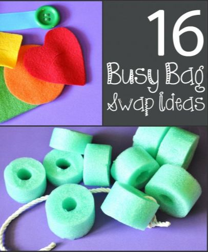 DIY busy bag ideas for toddlers and preschoolers. Ideas for hosting your own busy bag swap, too!