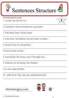 English sentence structure homework help