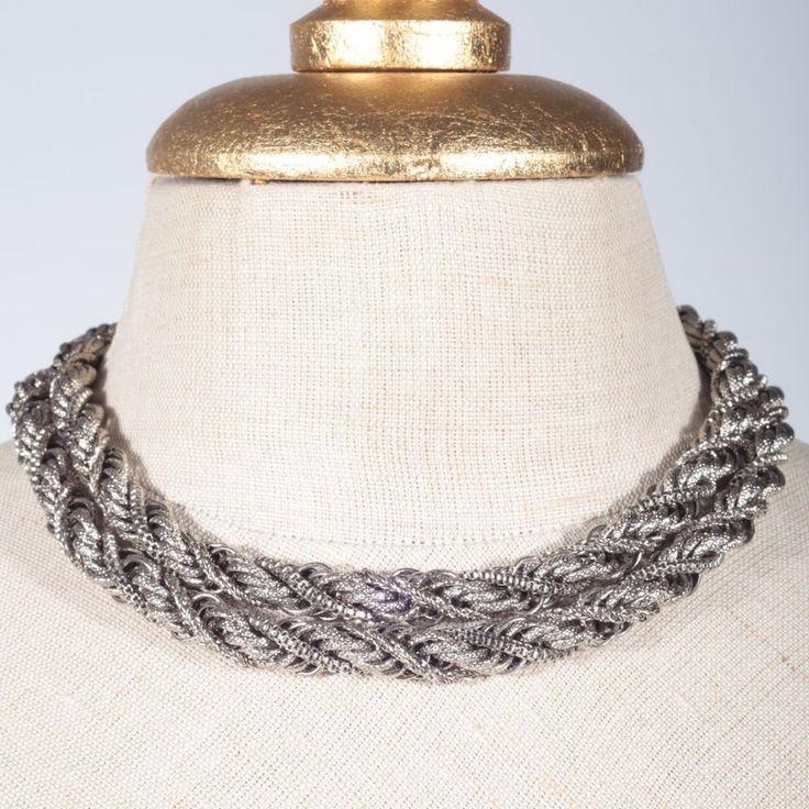 Kette silber Metall gedrehte Glieder dicke Halskette 80 cm lang Gliederkette