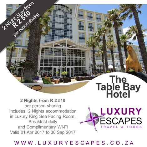 The Table Bay #TravelSpecial R 2 510 per person sharing for 2 Nights accommodation in Luxury King Sea Facing Room, Breakfast daily and Complimentary Wi-Fi. Valid 01 Apr 2017 to 30 Sep 2017. Book Now www.luxuryescapes.co.za