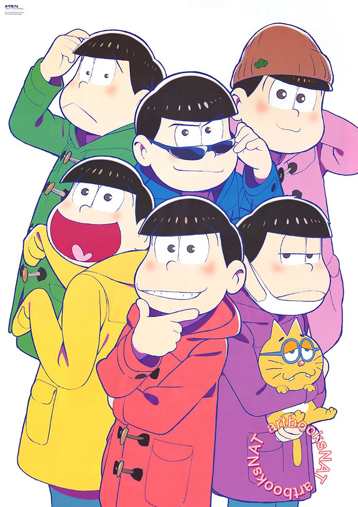 Osomatsu-san (おそ松さん)The charming Osomatsu-san brothers were illustrated by character designer Naoyuki Asano (浅野直之) for a jumbo-sized poster included with the March issue of Animage Magazine (Amazon US | JP). It was also used as the cover art for the previous month's issue.