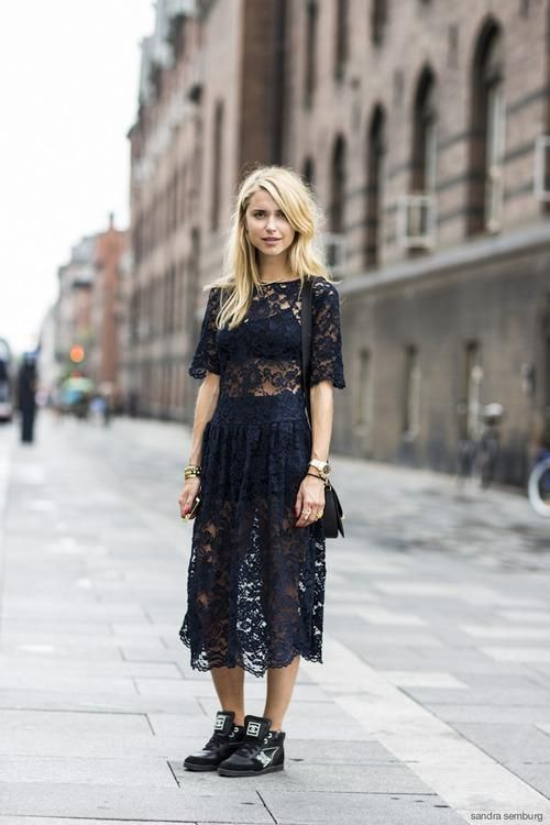 How to Style Your Sneakers in Summer - sheer black lace midi dress styled with hightop sneakers and gold jewelry