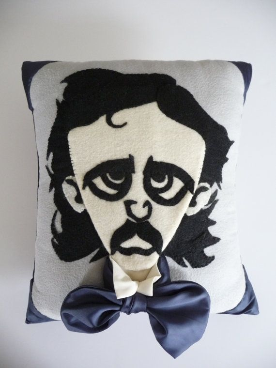 Poe Raven Pillow - Edgar Allan Poe and The Raven meet once more.