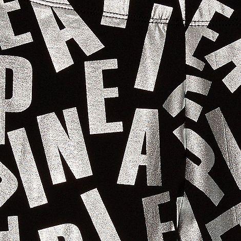 Pineapple Girls' black foil logo print leggings | Debenhams