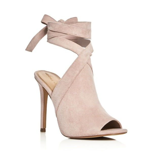 Kendall and Kylie Evelyn Ankle Tie High Heel Sandals ($150) ❤ liked on Polyvore featuring shoes, sandals, heels, light pink sandals, ankle wrap sandals, heeled sandals, light pink shoes and ankle wrap shoes