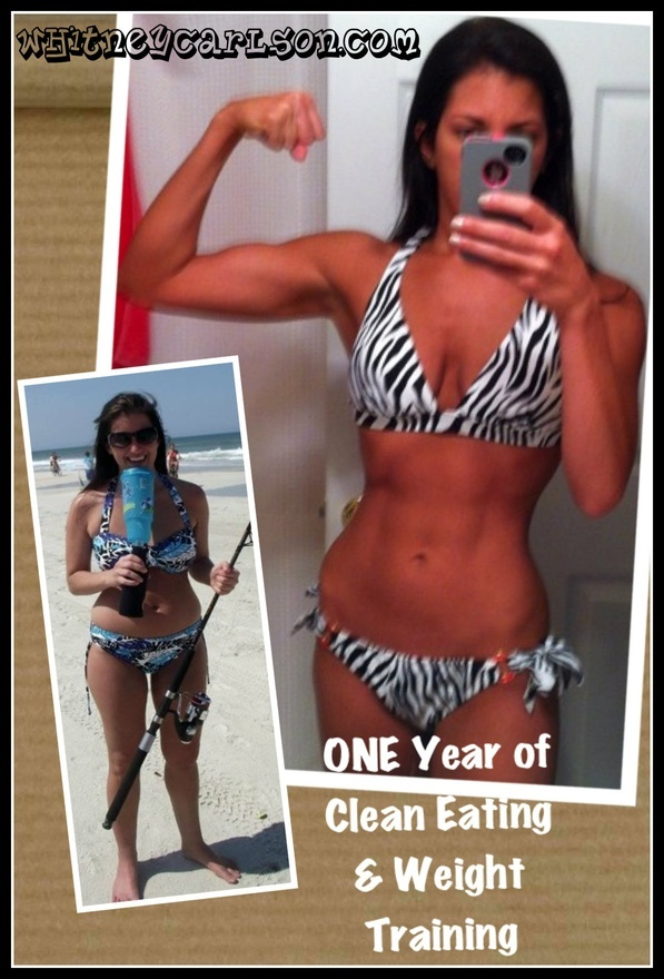Whitney Carlsons amazing blog about her transformation of clean eating and working out.  Week Before One Year Clean Eating Weight Training