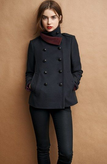 Burberry Brit 'Hullsbury' Peacoat | Nordstrom $895. It is recommended to order one size up if ordering from Burberry Brit for the first time.