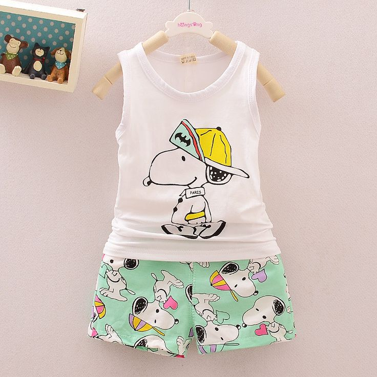 Baby Bays Clothing Set SNOOPIE Printed Vest Summer Brand Kids Clothes Toddler Girls Clothing Vest+Shorts Children's Clothing Set