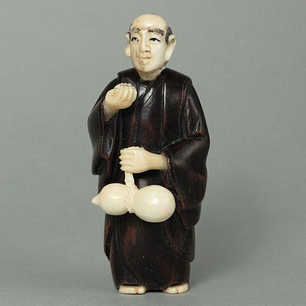 Antique Iron Wood Japanese Netsuke Japanese Old Man Carving WM0060