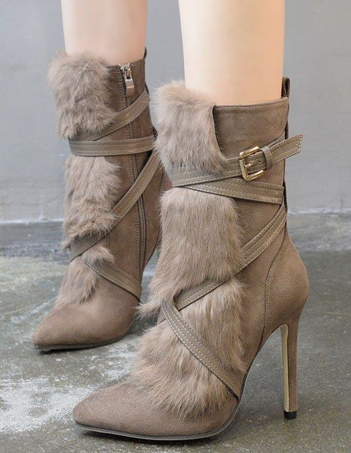 Fur Splicing Pointed Toe Boots(Size:35-40)_Boots_WHOLESALE SHOES_Wholesale clothing, Wholesale Clothes Online From China