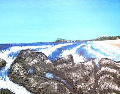 One of 3 commissioned Burleigh head Paintings, Gold Coast Australia.