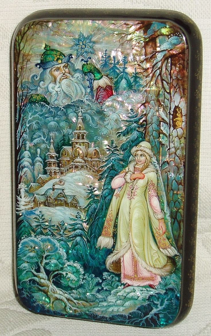 "Russian Lacquer Box Kholui "" Snow Maiden "" Miniature Hand Painted 