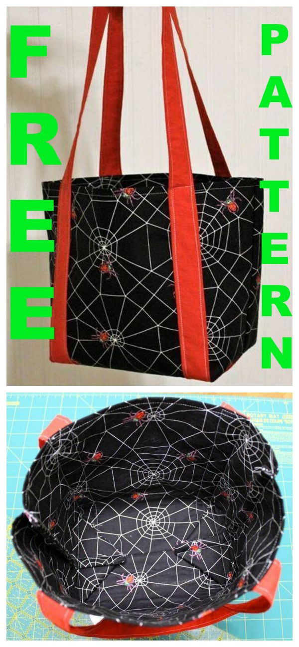 FREE bag sewing pattern. This Halloween bag is the perfect size for a baby or toddler. The handles are long enough that an adult can carry it on his/her shoulder. The bag is made in such a way that the same fabric is folded over and used on both the inside and outside. Of course, you don't have to use the bag just for Halloween, depending on the fabric choice.