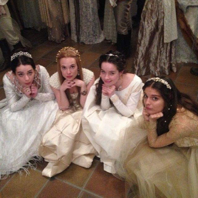 Love their dresses / Reign TV Show Fashion// I like that the rest are legitimately posing, and then there's Adelaide...