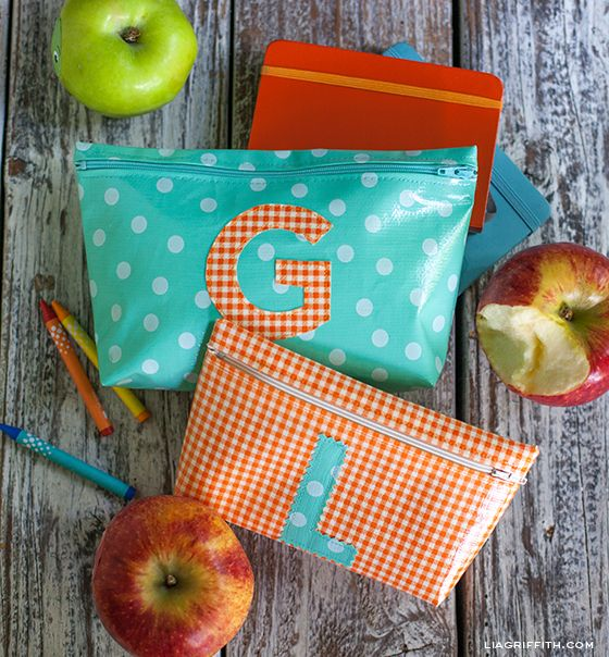 Oil cloth zip bags - easy sew with 7 seams, fun style with monograms and bright fabrics