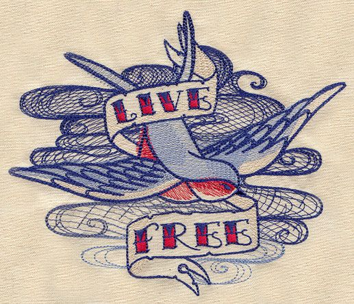 The Seven Seas - Live Free Tattoo   Urban Threads: Unique and Awesome Embroidery Designs