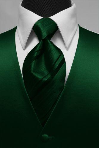 Cardi Premiere Solid Satin Hunter Green Tuxedo Vest