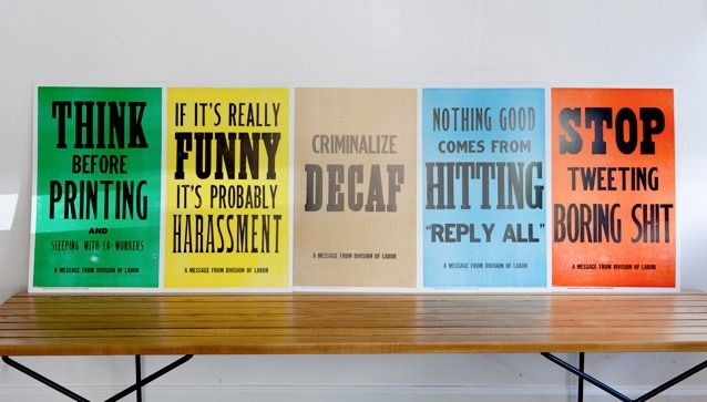 Flyer goodness new rules of work letterpress posters by for Office design rules