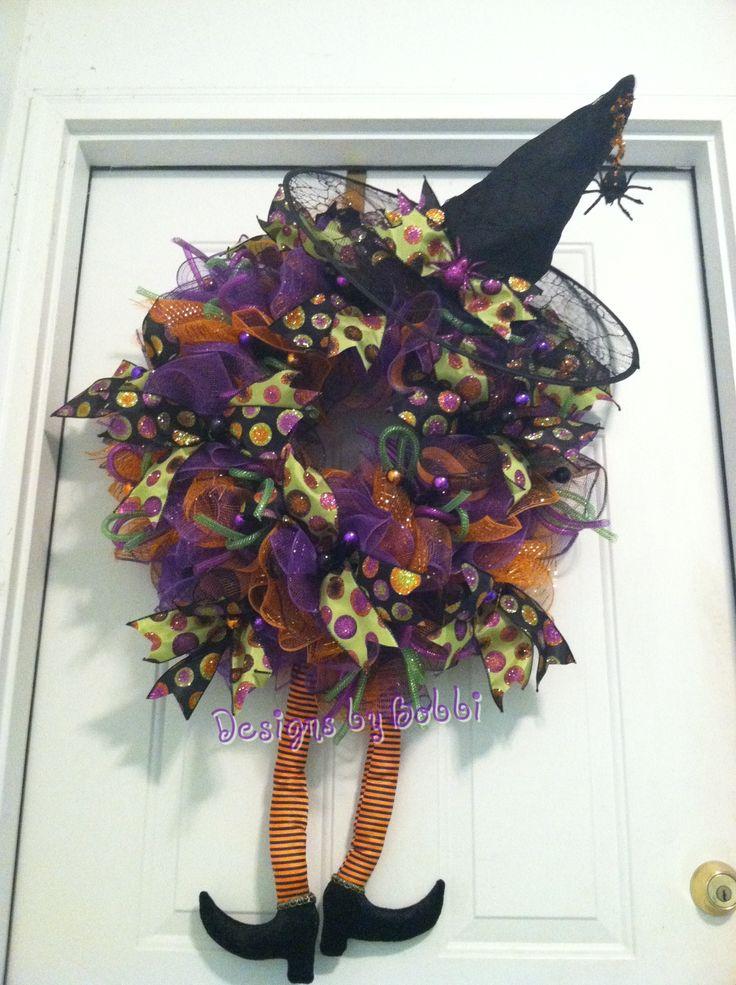 halloween deco mesh witch wreath - Halloween Deco