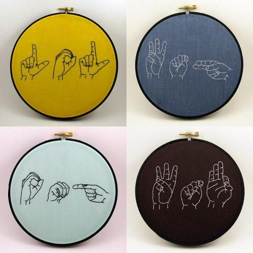 Sign Language Embroidery Hoop