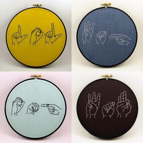 Custom Sign Language Embroidery Hoop Art  6 by ThePhantomMoon