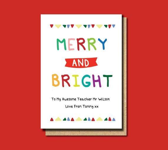 Christmas Cards For Teachers.Christmas Card Teacher Christmas Card For Teacher Merry