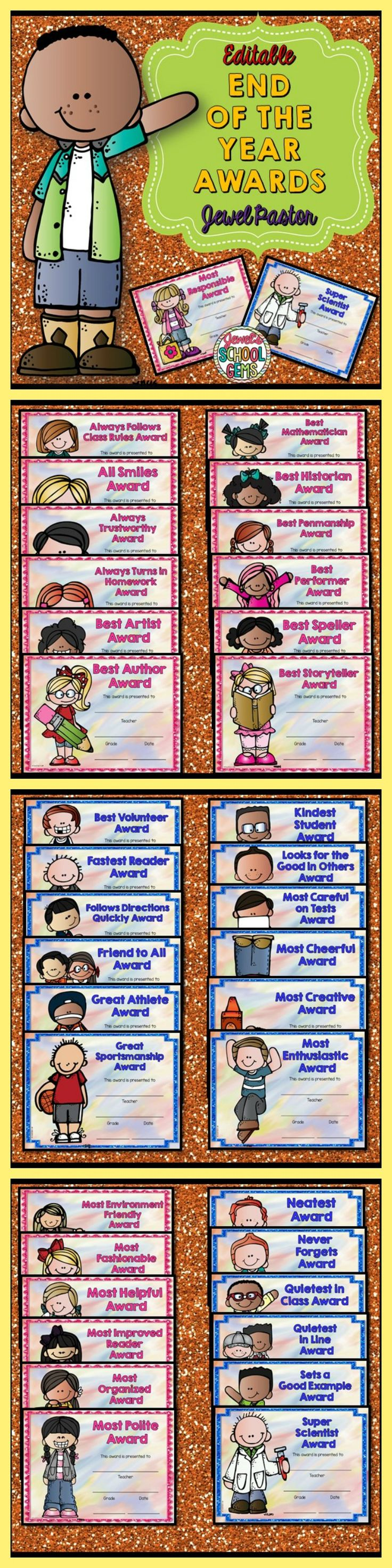 End of the Year Awards: End of the Year Awards Editable Certificates | This packet is composed of 37 unique awards that you can present your students. Each award comes in boy and girl versions. This packet contains print-and-go pdf and editable PowerPoint files.