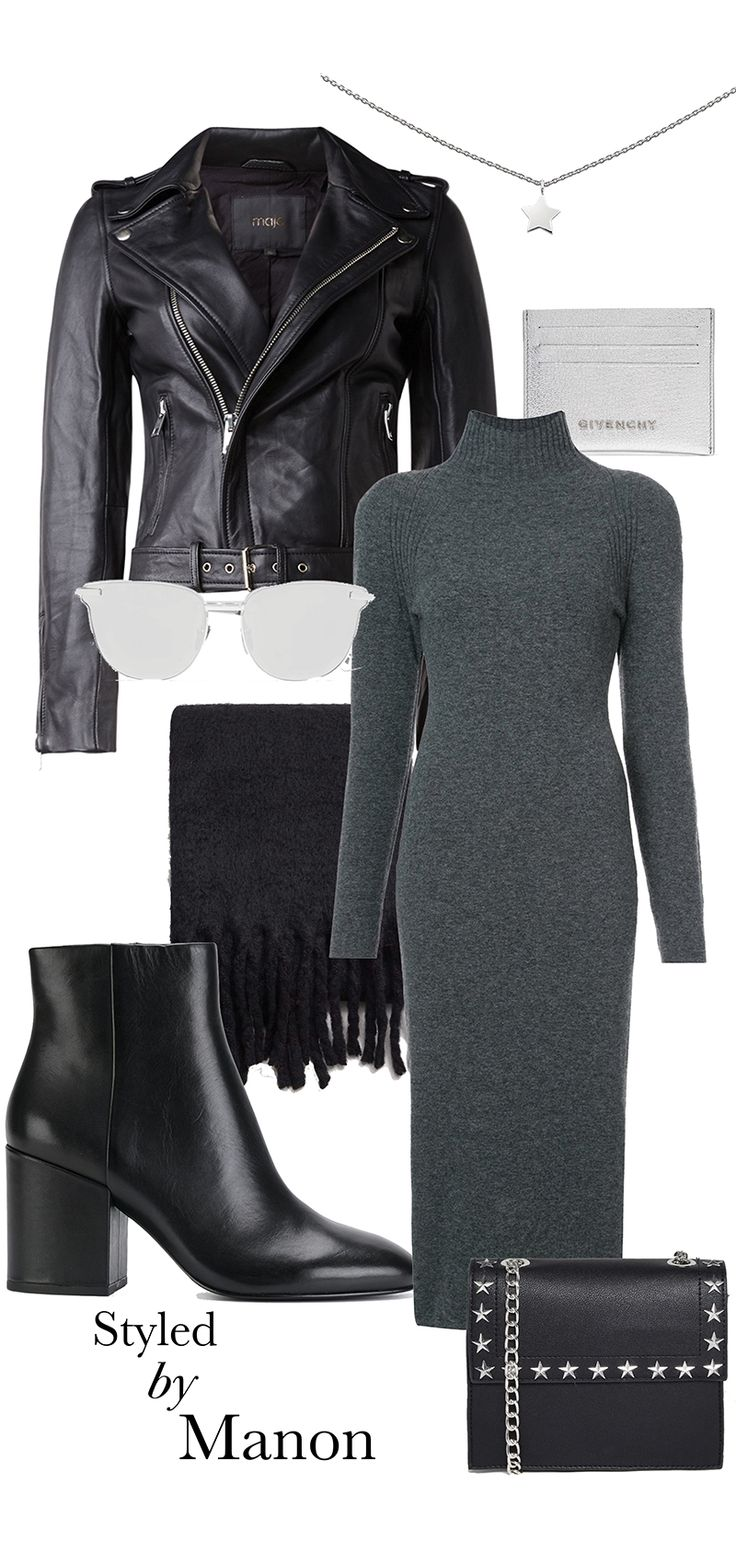 Long dress in winter, leather jacket - Outfit Styled by Manon #whattowear