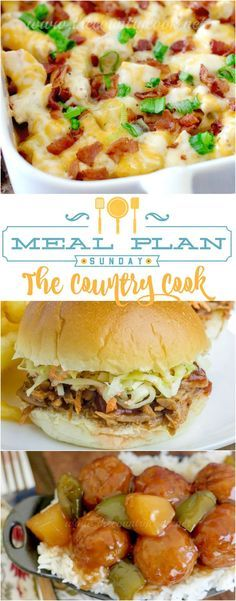 Meal Plan Sunday recipes at The Country Cook. Recipes included Loaded Bacon Ranch Chicken Casserole, Slow Cooker Pulled Pork Sandwiches, BBQ Biscuit Cups, Skillet Lasagna, Brunswick Stew and more!