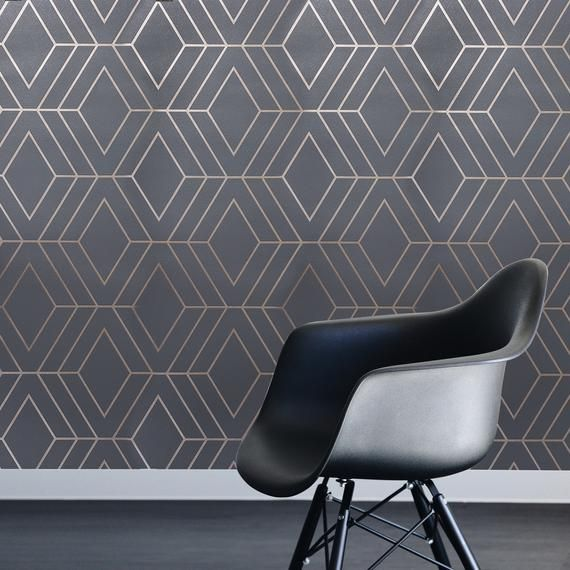 Hey I Found This Really Awesome Etsy Listing At Https Www Etsy Com Listing 747695401 Moder Geometric Wallpaper Modern Wallpaper Geometric Wallpaper Charcoal