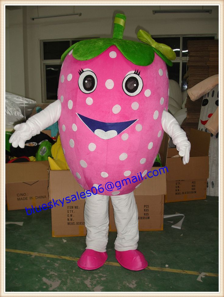 pink strawberry character cartoon mascot costume from BlueSky123 on YYUber.com