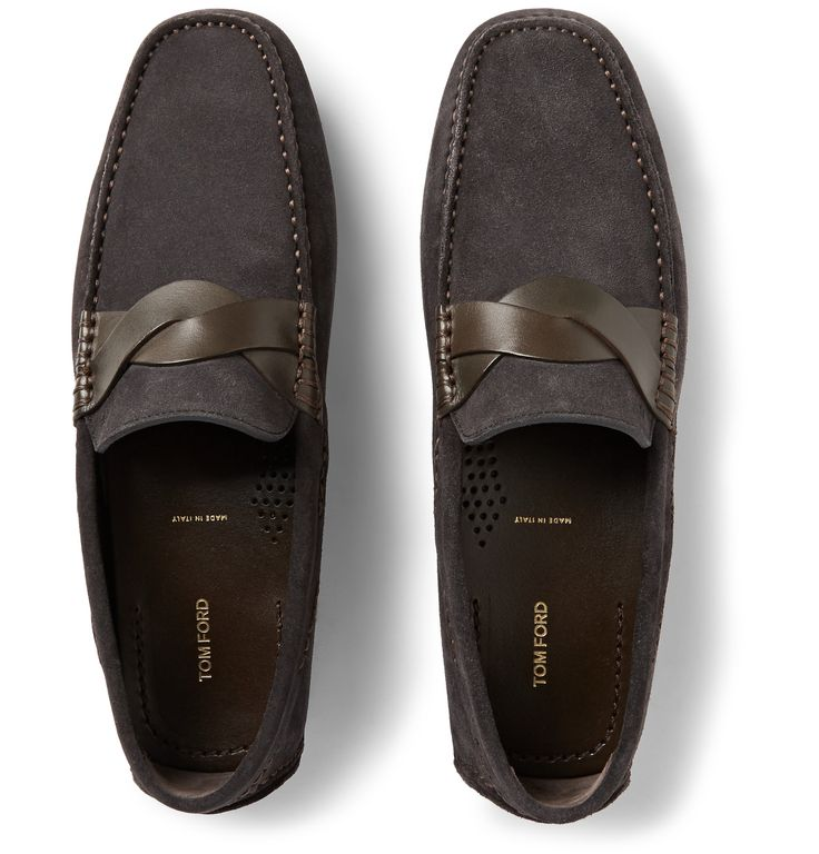 TOM FORD crafts its shoes in Italy to guarantee superior quality and comfort, and these anthracite suede driving shoes are a sterling example. They meld expert construction with the label's signature confidence and are trimmed with woven leather details. Try yours with tailored shorts or slightly cropped trousers to cap off smart looks year-round.