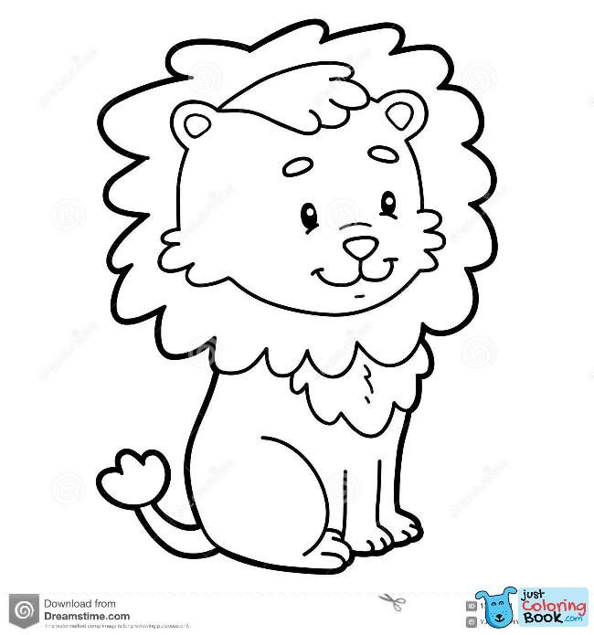 Coloring Page Cartoon Lion Stock Vector Illustration Of With